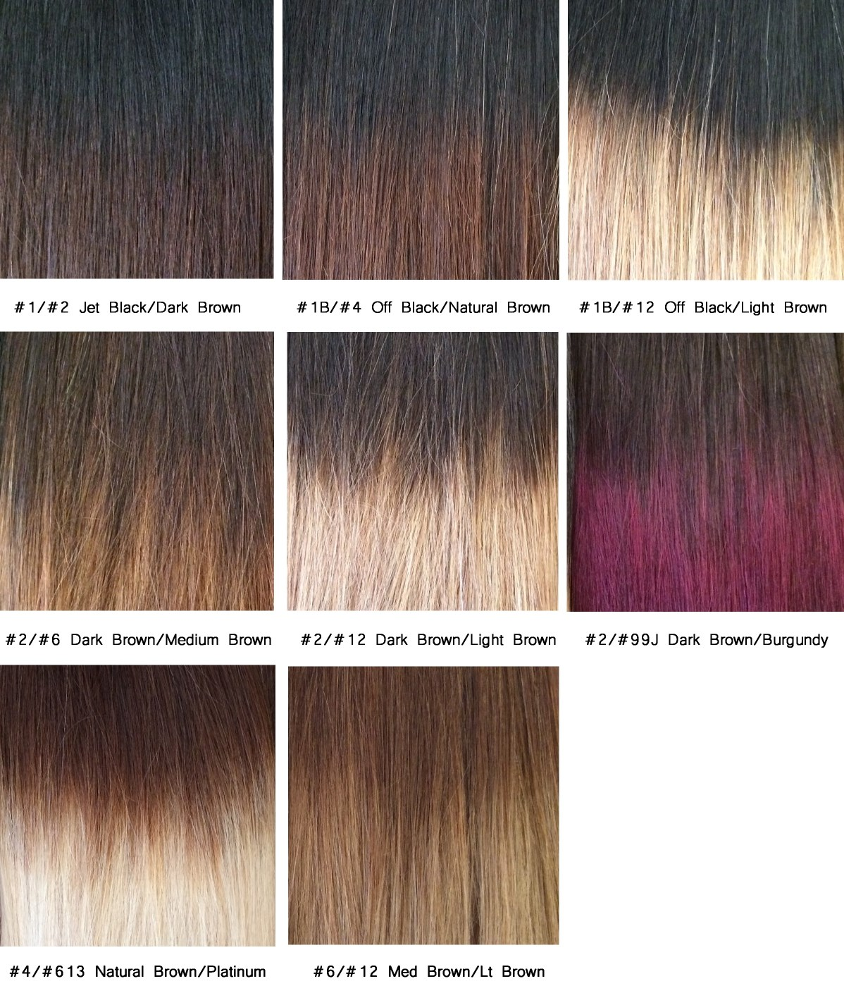 Colour Chart | Cleopatra Hair Extensions