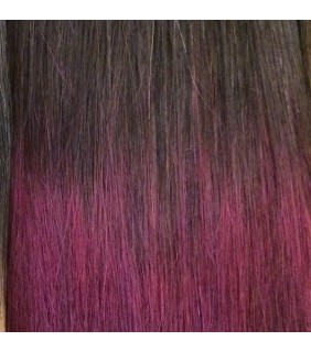 "20"" Ultimate Ombre Clip In Hair Extensions 230g Dark Brown/Burgundy"