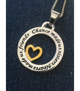 Chance Made Us Sisters, Hearts Made Us Friends Necklace