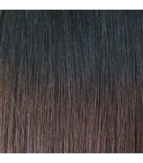 "20"" Ultimate Ombre Clip In Hair Extensions 230g Jet Black/Dark Brown"