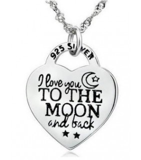 925 Sterling Silver I Love You To The Moon and Back Necklace