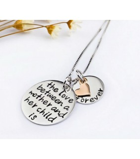 925 Sterling Silver The Love between a mother and her child is forever necklace