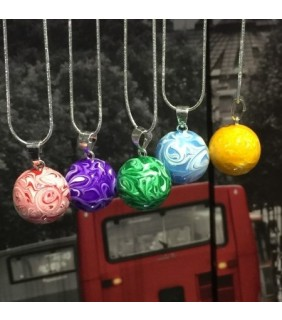 Painted Swirl Harmony Ball Necklace