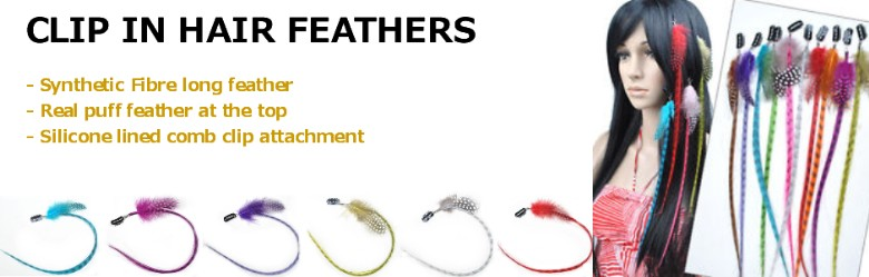 Synthetic Clip In Feather Hair Extensions